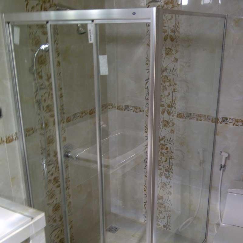 Shower Screen Kaca Frame Silver